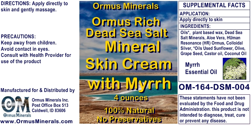 Ormus Minerals Dead Sea Salt Mineral Skin Cream with Myrrh