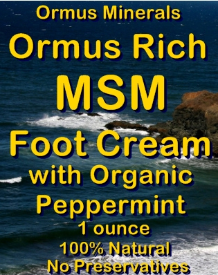 Ormus Minerals -Ormus Rich MSM Foot Cream with Organic Peppermint